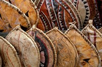 Kenya. Handmade Masai shields at a roadside market Fine Art Print
