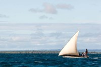 Men sailing on the sea of Zanj, Ihla das Rolas, Mozambique Fine Art Print