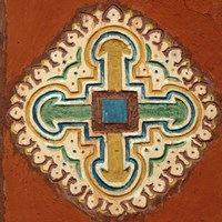 Mauritania, Cross depicted on a wall in Oualata Fine Art Print