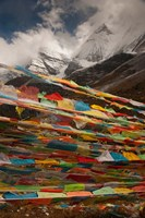 Prayer Flags, Milk Lake, Yading Natural area, China Fine Art Print