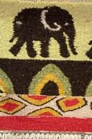 Namibia, Swakopmund. Karakulia, elephant design on wool textiles Fine Art Print