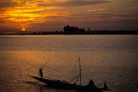 Pirogue On The Bani River, Mopti, Mali, West Africa Fine Art Print