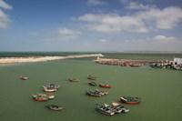 MOROCCO, JADIDA: Portuguese Fortress, Fishing Boats Fine Art Print