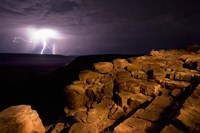 Namibia, Fish River Canyon NP, Storm, Lightning strikes Fine Art Print