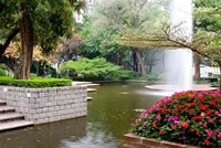 Pond With Fountain in Kowloon Park, Tsim Sha Tsui Area, Kowloon, Hong Kong, China Fine Art Print