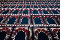 Pattern of prayer rugs, Islamic mosque, Cairo, Egypt Fine Art Print