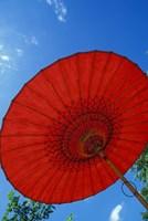 Red Umbrella With Blue Sky, Myanmar Fine Art Print