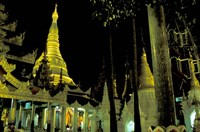 Night View of Illuminated Shwedagon, Myanmar Fine Art Print