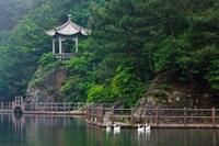 Pavilion with lake in the mountain, Tiantai Mountain, Zhejiang Province, China Fine Art Print