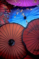 Souvenir parasols for sale at a market, Rangoon, Burma Fine Art Print