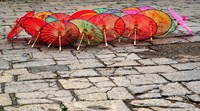 Umbrellas For Sale on the Streets of Jinan, Shandong Province, China Fine Art Print