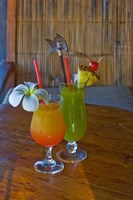 Tropical cocktails, Fregate Resort island, Seychelles Fine Art Print
