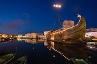 Tunisia, Bizerte, Old Port, floating restaurant Fine Art Print