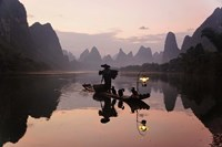 Traditional Chinese Fisherman with Cormorants, Li River, Guilin, China Fine Art Print