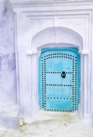 Traditional Moorish-styled Blue Door, Morocco Fine Art Print