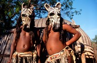 Zulu Zebra Masked Dancers, South Africa Fine Art Print