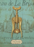 Antique Corkscrew III Blue Fine Art Print