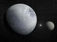 Pluton, its big moon Charon and the Polaris star Fine Art Print
