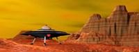 UFO landing on a desert landscape Fine Art Print