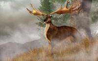 An Irish Elk stands in deep grass on a foggy hillside Fine Art Print