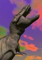 Tyrannosaurus Rex roaring against a colorful sky Fine Art Print