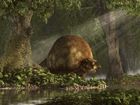 A large Glyptodon stands near the edge of a stream Fine Art Print