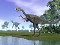 Two Gigantoraptor dinosaurs in a prehistoric environment Fine Art Print