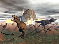 Tyrannosaurus Rex dinosaurs escaping a big meteorite crash Fine Art Print