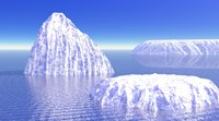 Three icebergs in ocean by daylight Fine Art Print