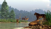 A saber-toothed cat looks across a river at a family of deer Fine Art Print