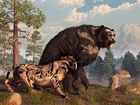 A saber-toothed cat tries to drive a short-faced bear out of its territory Fine Art Print
