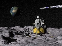 Apollo on surface of moon, with Saturn V rocket in the background Fine Art Print
