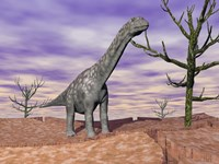 Argentinosaurus standing on the cracked desert ground next to dead trees Fine Art Print