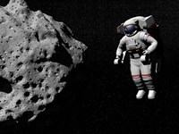 Astronaut exploring an asteroid in outer space Fine Art Print