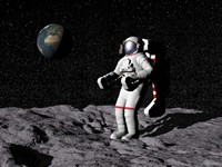Astronaut on moon with Earth in the background Fine Art Print