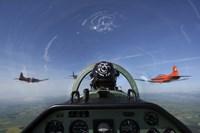 cockpit view of PC-7 turboprop Fine Art Print