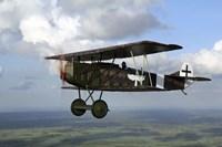 Fokker DVII World War I replica fighter in the air Fine Art Print