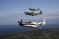 P-51 Cavalier Mustang with Supermarine Spitfire fighter warbirds Fine Art Print