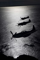 Three P-51 Cavalier Mustang warbirds in flight Fine Art Print