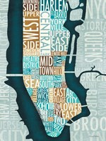 Manhattan Map Blue Brown Fine Art Print