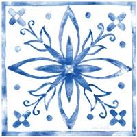 Tile Stencil I Blue Fine Art Print