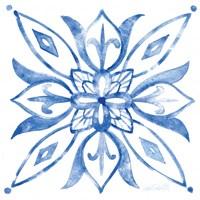 Tile Stencil II Blue Fine Art Print