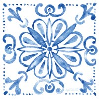 Tile Stencil IV Blue Fine Art Print