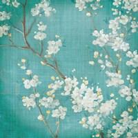 White Cherry Blossoms II on Blue Aged No Bird Fine Art Print