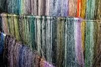 China, Suzhou. Hanging silk threads, market Fine Art Print