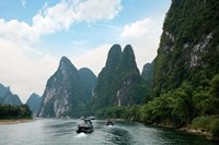 China, Guilin, Li River, Boats along the River Fine Art Print