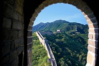 China, Huairou, Mutianyu, Great Wall, turret window Fine Art Print
