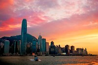Victoria Peak as seen from a boat in Victoria Harbor, Hong Kong, China Fine Art Print