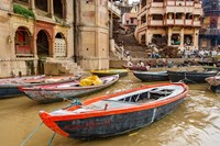 Boats on River Ganges, Varanasi, India Fine Art Print