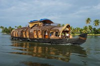 Cruise Boat in Backwaters, Kerala, India Fine Art Print